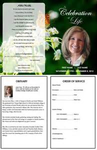 funeral obituary template funeral program template with butterfly more single fold