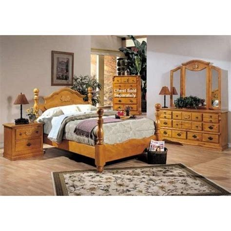 Complete Bedroom Sets by 4pc Solid Pine Size Bed Complete