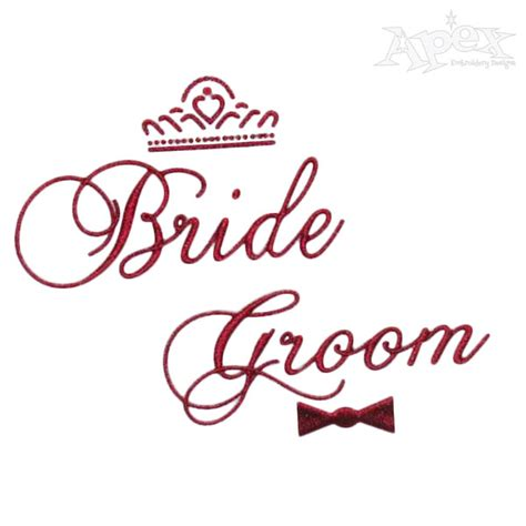 Wedding Font Default by And Groom Wedding Embroidery Design