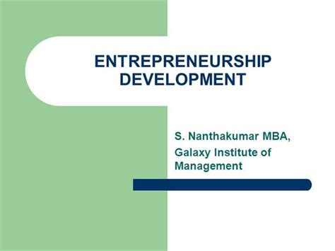 Entrepreneurship Development Pdf For Mba by Entrepreneurship Development Authorstream