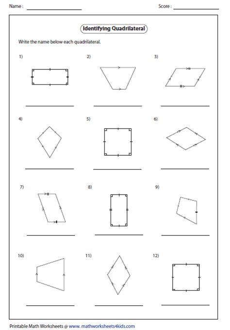 quadrilateral flashcards printable printables classify quadrilaterals worksheet