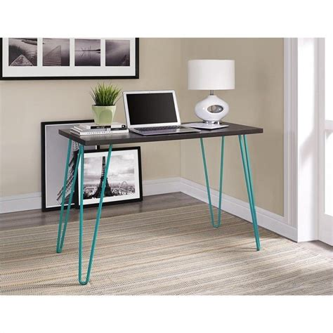 espresso machine for office desk desk in espresso with teal metal legs 9851096pcom