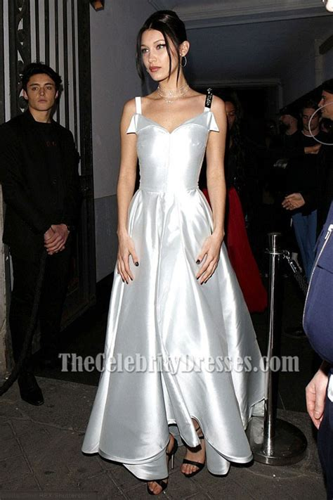 Bella Hadid Silver A Lin Ball Gown Prom Evening Dress 2017 Paris Fashion Week   TheCelebrityDresses