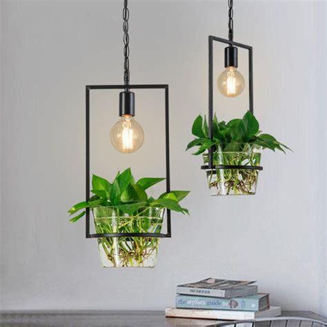 hanging plant box frame pendant light  cage ceiling