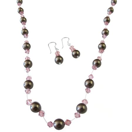 Handmade Jewelry Sets - chocolate brown pearls pink crystals wedding handcrafted