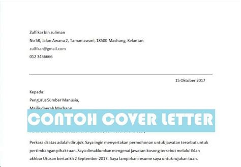 contoh cover letter part time contoh cover letter malaysia contoh surat memohon