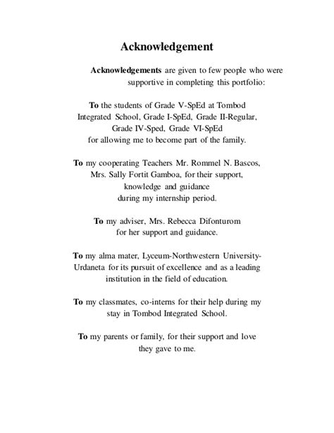 Acknowledgement Letter For Portfolio A Practice Teaching Portfolio