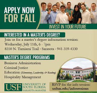 Usf Mba Fall Schedule by Usf Sarasota Manatee Professional Mba Program