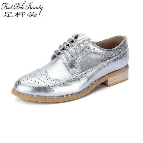 silver oxford shoes womens high quality genuine leather color matching oxford shoes