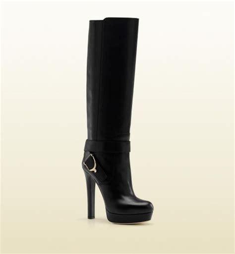 gucci stirrup high heel platform boot with spur detail in