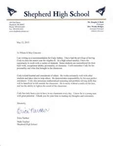 Recommendation Letter For Student In Math Personal Testimony S Career Portfolio