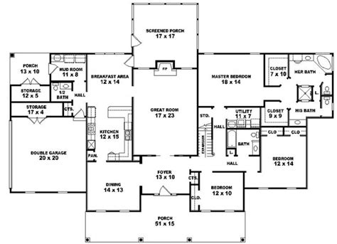 5 bedroom floor plans 1 story 653941 one story 3 bedroom 3 5 bath louisiana