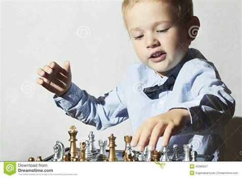 Chess Styles Fashionable Little Boy Playing Chess Smart Kid Fashion