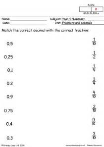 primaryleap co uk fractions and decimals worksheet