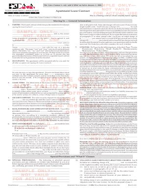 Taa Apartment Lease Form Taa Leasing Apartment Contract For 2008 Fill