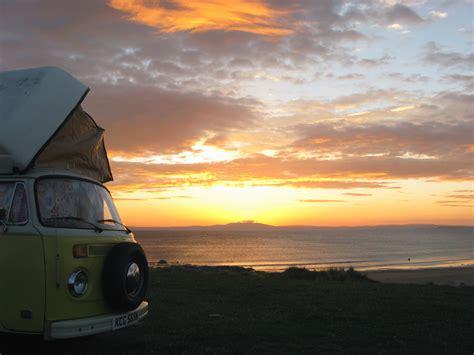 volkswagen van beach sunset at kintra beach islay wild about scotland