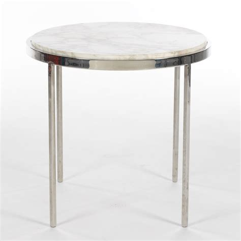 marble accent tables chrome base accent table with white polished marble top