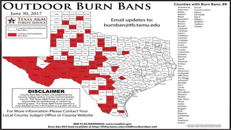 texas county burn ban map texas a m forest service issues map of burn bans across the