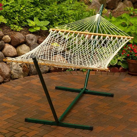 backyard creations hammock backyard creations single size cotton rope hammock with