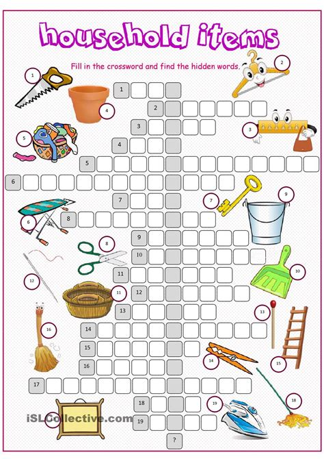 household items crossword puzzle esl vocabulary