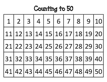 printable number chart 1 to 50 counting to 50 number chart by fun for kinders tpt