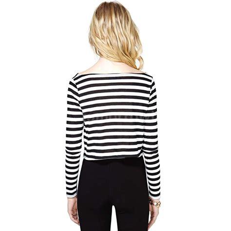 Baju Top Blouse Motif Striped Black White New Modis Impor black white stripe casual t shirt crew neck sleeve crop top ebay