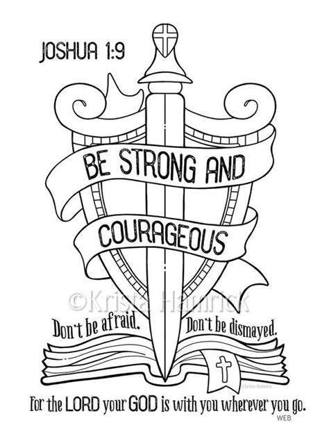 sunday school coloring pages with bible verses be strong and courageous coloring page 8 5x11 bible