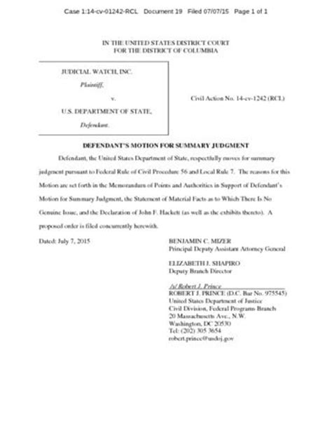 summary judgment motion template judicial v state department motion for summary