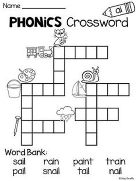 easy crossword puzzles for kindergarten phonics worksheets ch tch 3 first grade pinterest