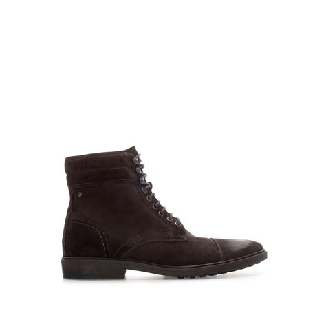 zara suede ankle worker boot in black for grey lyst
