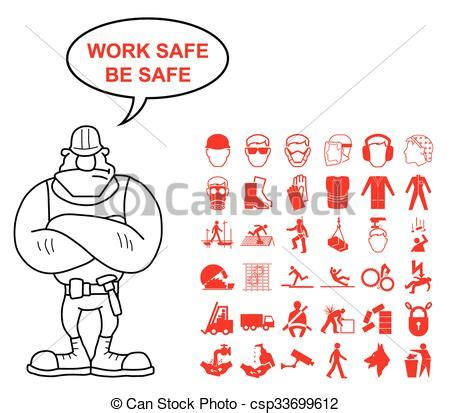 hse engineering graphics design vector clip art of health and safety graphics red