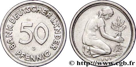 50 pfennig 1949 g bank deutscher länder germany 50 pfennig bank deutscher l 228 nder 1949 karlsruhe