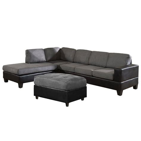 Gray Microfiber Sectional Venetian Worldwide Dallin Sectional Sofa With Left Ottoman