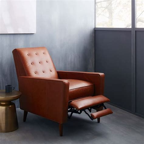 west elm mid century leather recliner rhys mid century leather recliner west elm
