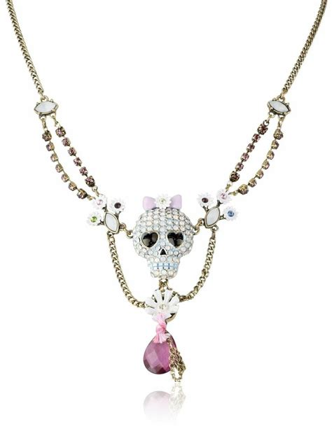 amazon jewelry amazon com betsey johnson quot girlie grunge quot skull necklace