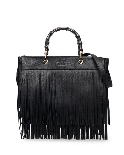 leather fringe bags gucci bamboo leather fringe shopper tote bag in black lyst