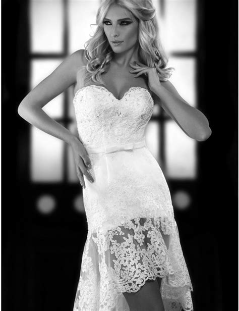 Fashion romantic high low short lace wedding dress 2017 vintage country style bridal dress plus