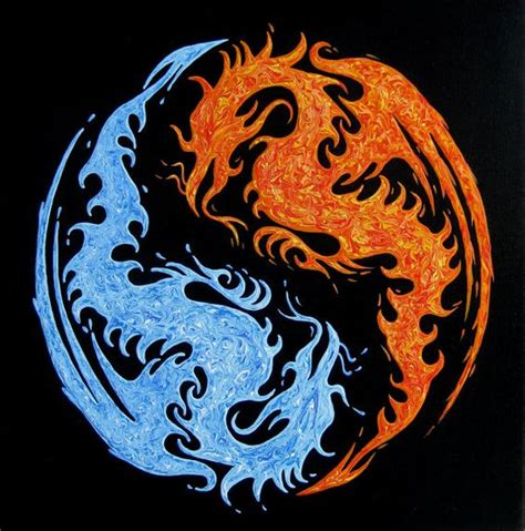 dragon tattoo meaning yahoo yin yang water and fire dragons original by