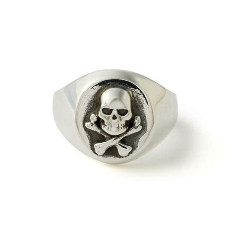 all silver skull crossbones signet ring the great frog
