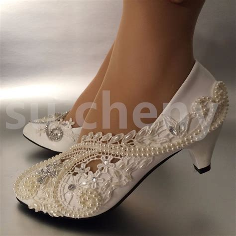 Wedding Shoes Low Heel Ivory by 2 Low Heel White Ivory Pearls Lace Wedding Shoes