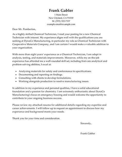 traditional cover letter format best chemical technicians cover letter exles livecareer