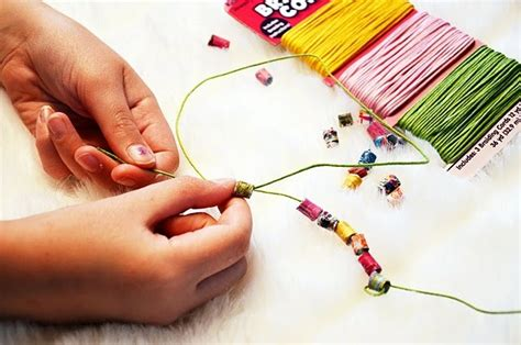 How To Make Paper Bracelets - recycled paper beading craft ideas