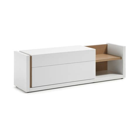 modern design tv stand made of white grey laquered wood giove
