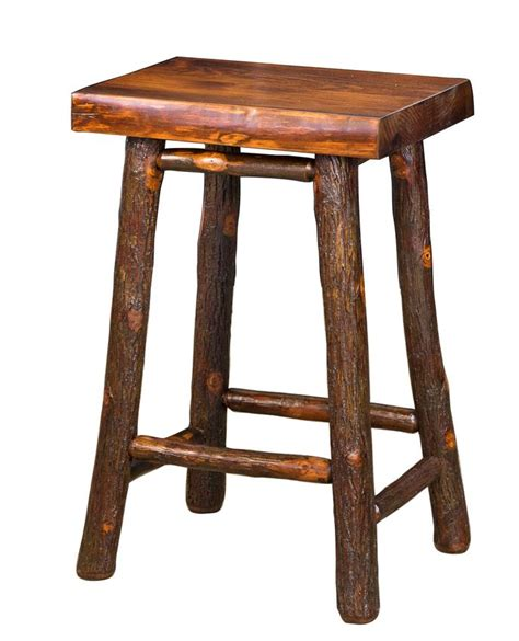 Hickory Bar Stools by Amish Hickory Twig Bar Stool With Pine Seat