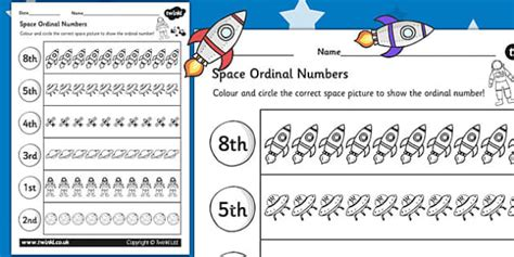 new year story ordinal numbers space themed ordinal numbers worksheet space numbers order
