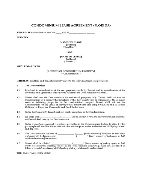 Condo Lease Agreement 10 Free Templates In Pdf Word Excel Download Condo Rental Lease Template