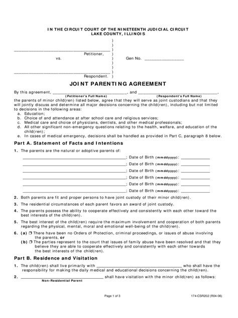 joint custody parenting plan template joint custody agreement form 6 free templates in pdf