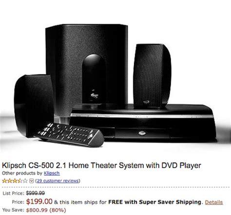deal of the day 999 99 klipsch cs 500 2 1 home theater