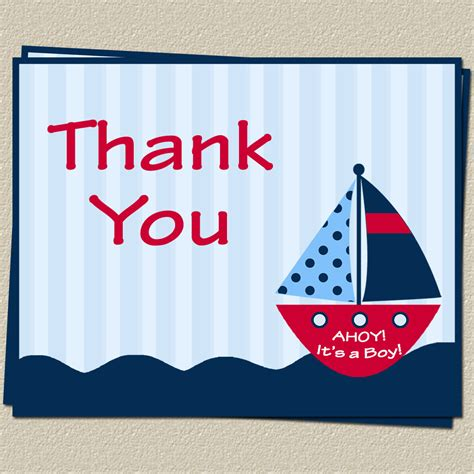 free printable nautical thank you cards nautical thank you cards baby shower ahoy its a boy