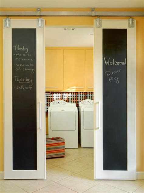 remodelaholic diy sliding doors with chalkboard